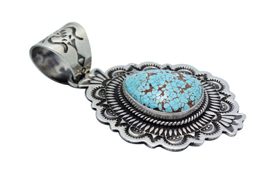 Load image into Gallery viewer, Darrell Cadman, Pendant, Number Eight Turquoise, Silver, Navajo Handmade, 2.25