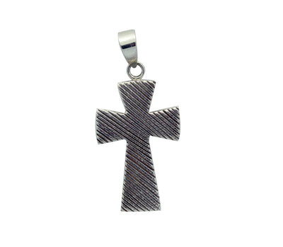Load image into Gallery viewer, Kary Begay, Pendant, Cross Design, Stamping, Sterling Silver, Navajo Made, 2.25