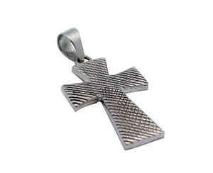Kary Begay, Pendant, Cross Design, Stamping, Sterling Silver, Navajo Made, 2.25