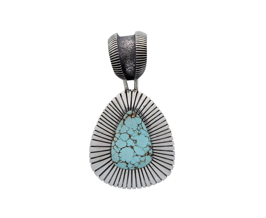 Aaron Anderson, Pendant, Number Eight Turquoise, Tufa, Stamping, Navajo, 2.25