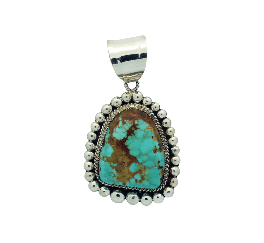 Ray Nez, Pendant, Turquoise Mountain, Sterling Silver, Navajo Handmade, 3