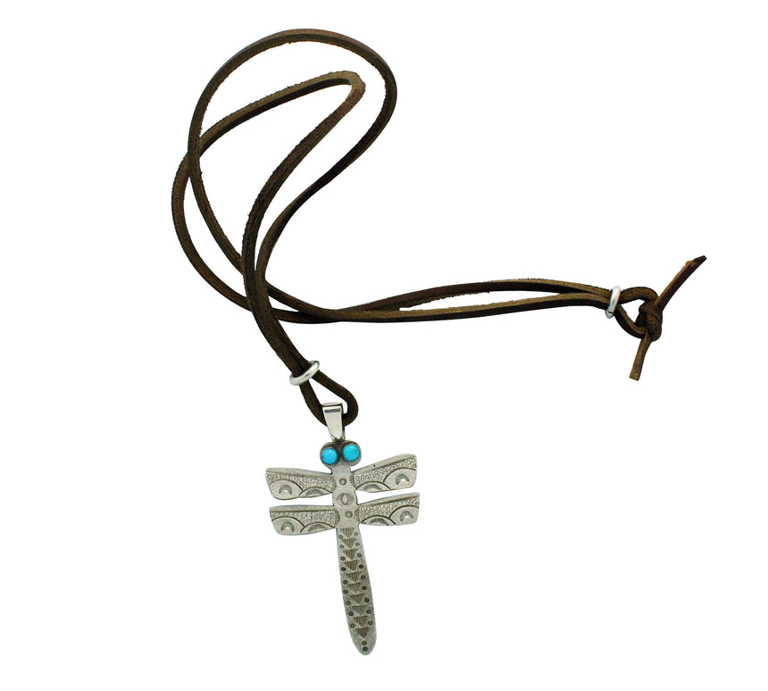 Aaron John, Pendant, Dragonfly, Sleeping Beauty Turquoise, Navajo Made, 19.5