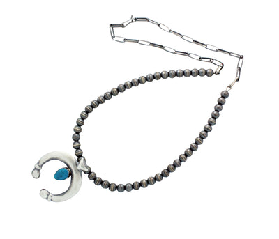 Load image into Gallery viewer, Mildred Parkhurst, Necklace, Turquoise Naja, Silver Beads, Navajo Made, 28