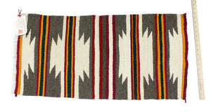 "Gallup Throw Rug, Navajo Wool Cotton, Handwoven, 34"" x 18"""