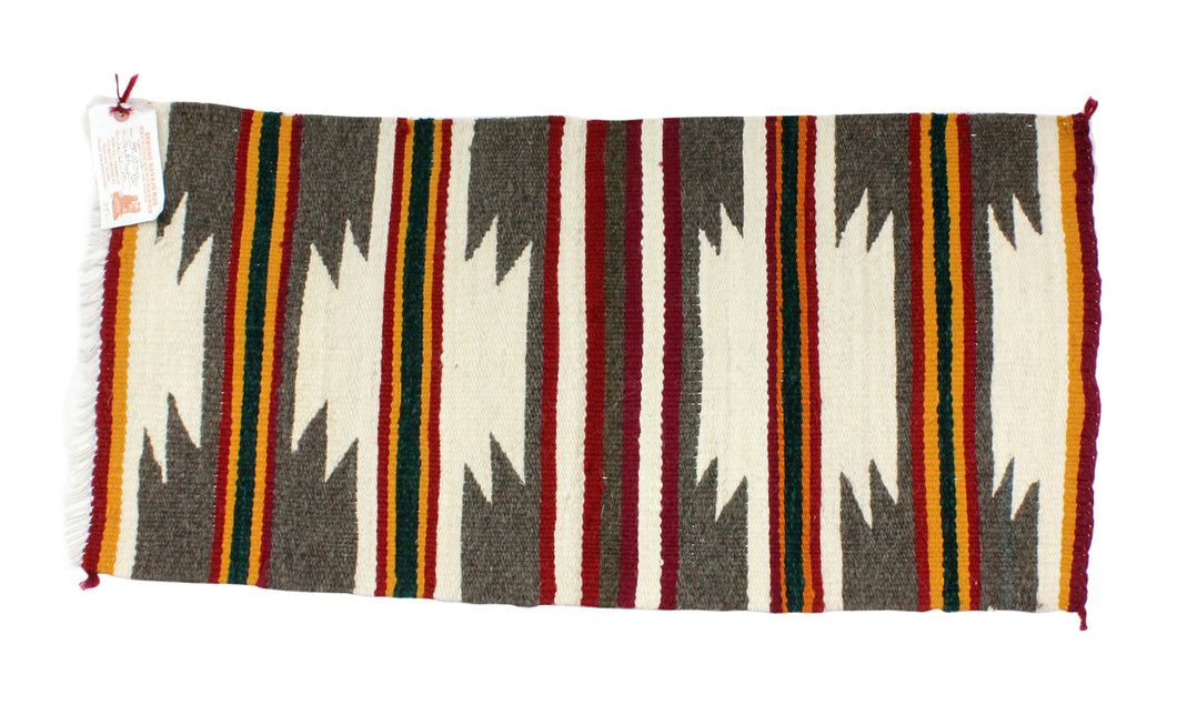 Gallup Throw Rug, Navajo Wool Cotton, Handwoven, 34