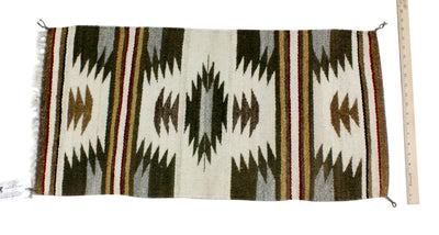 "Load image into Gallery viewer, Gallup Throw Rug, Navajo Wool Cotton, Handwoven, 34"" x 17.25"""
