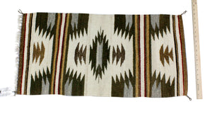 "Gallup Throw Rug, Navajo Wool Cotton, Handwoven, 34"" x 17.25"""