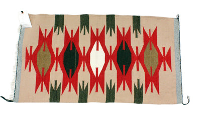 "Load image into Gallery viewer, Gallup Throw Rug, Navajo Wool Cotton, Handwoven, 37"" x 20.25"""