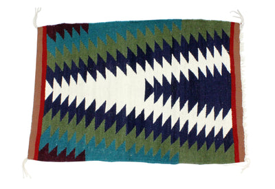 "Load image into Gallery viewer, Gallup Throw Rug, Navajo Wool Cotton, Handwoven, 31"" x 22.25"""