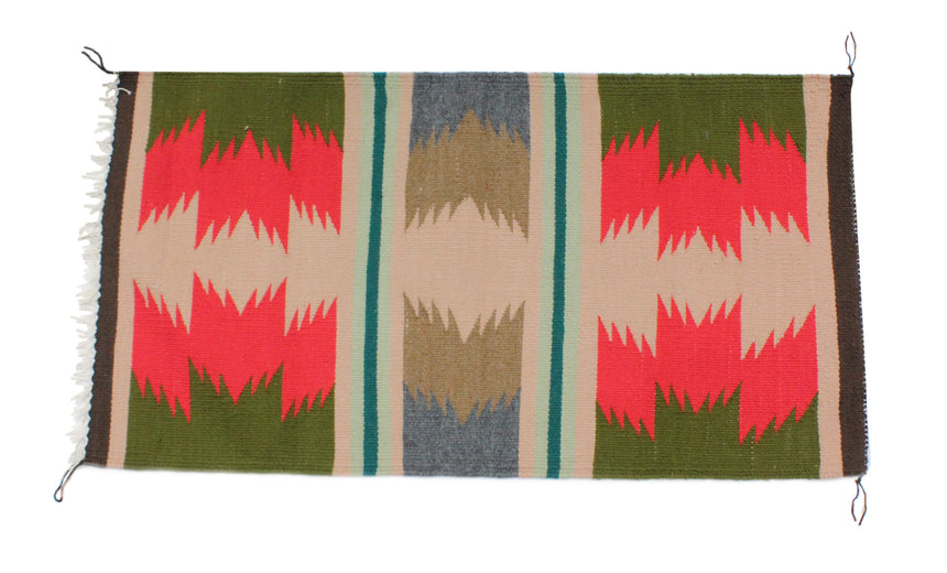 Gallup Throw Rug, Navajo Wool Cotton, Handwoven, 37