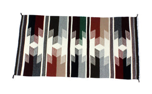 "Gallup Throw Rug, Navajo Wool Cotton, Handwoven, 34.24"" x 18"""