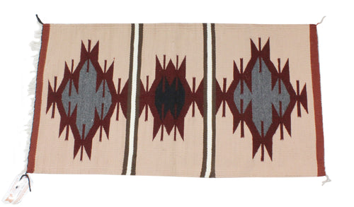 Faye Peterson, Gallup Throw Rug, Navajo Wool Cotton, Handwoven, 38.5