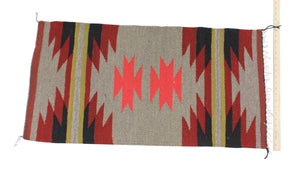 "Gallup Throw Rug, Navajo Wool Cotton, Handwoven, 38"" x 20"""