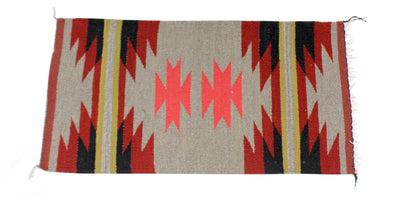 "Load image into Gallery viewer, Gallup Throw Rug, Navajo Wool Cotton, Handwoven, 38"" x 20"""