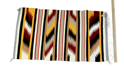 "Load image into Gallery viewer, Gallup Throw Rug, Navajo Wool Cotton, Handwoven, 36"" x 20"""
