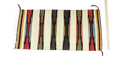 "Load image into Gallery viewer, Gloria Joe, Gallup Throw Rug, Navajo Wool Cotton, Handwoven, 34.5"" x 17"""