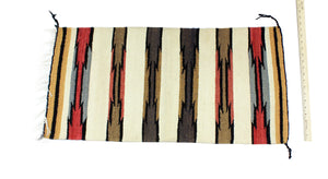 "Gloria Joe, Gallup Throw Rug, Navajo Wool Cotton, Handwoven, 34.5"" x 17"""