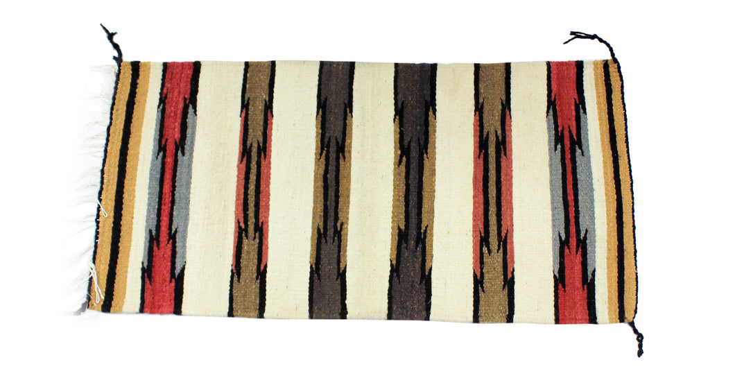 Gloria Joe, Gallup Throw Rug, Navajo Wool Cotton, Handwoven, 34.5