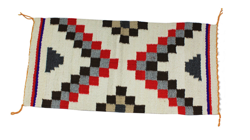 Annie McCary, Gallup Throw Rug, Navajo Wool Cotton, Handwoven, 32