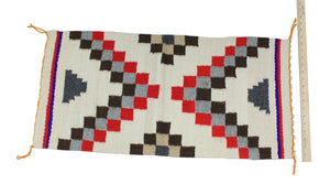 "Annie McCary, Gallup Throw Rug, Navajo Wool Cotton, Handwoven, 32"" x 16.5"""