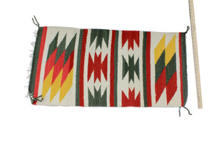 "Gallup Throw Rug, Navajo Wool Cotton, Handwoven, 37.25"" x 19"""