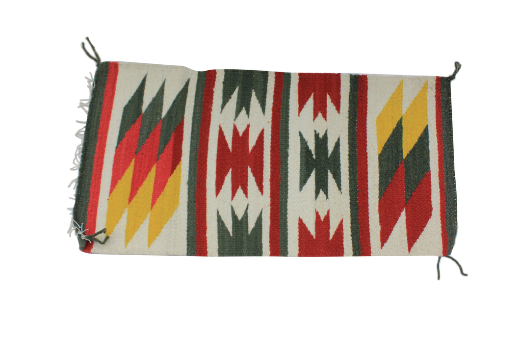 Gallup Throw Rug, Navajo Wool Cotton, Handwoven, 37.25