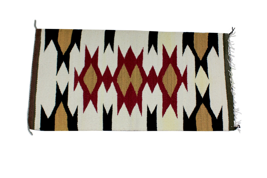 Faye Peterson, Gallup Throw Rug, Navajo Wool Cotton, Handwoven, 38