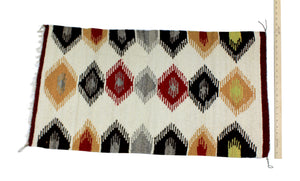 "Faye Peterson, Gallup Throw Rug, Navajo Wool Cotton, Handwoven, 36.5"" x 20"""