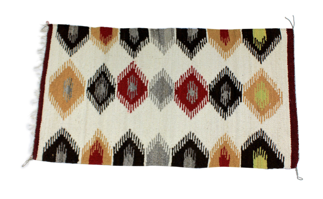 Faye Peterson, Gallup Throw Rug, Navajo Wool Cotton, Handwoven, 36.5