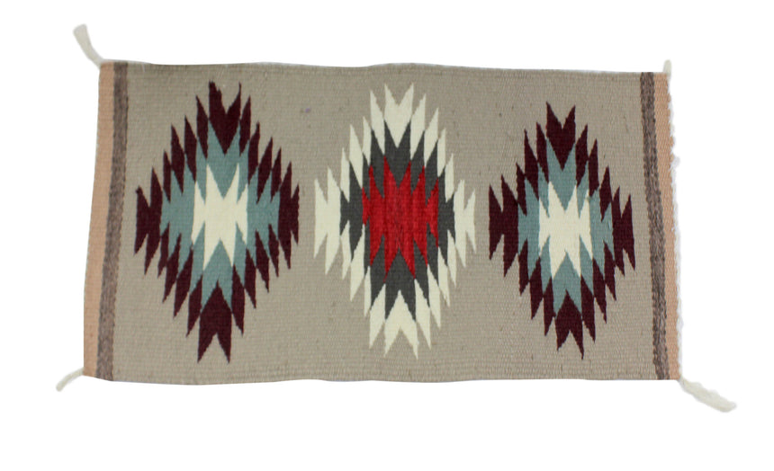 Gallup Throw Rug, Navajo Wool Cotton, Handwoven, 32