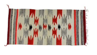 "Load image into Gallery viewer, Gallup Throw Rug, Navajo Wool Cotton, Handwoven, 36"" x 17.5"""