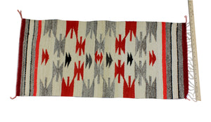 "Gallup Throw Rug, Navajo Wool Cotton, Handwoven, 36"" x 17.5"""