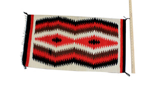"Gallup Throw Rug, Navajo Wool Cotton, Handwoven, 34.5"" x 19.5"""