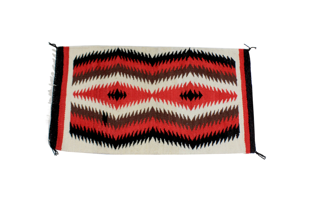 Gallup Throw Rug, Navajo Wool Cotton, Handwoven, 34.5