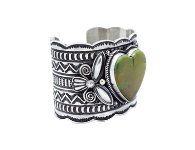 Load image into Gallery viewer, Andy Cadman, Heart Bracelet, Green Kingman Turquoise, Navajo Handmade, 6 3/8""