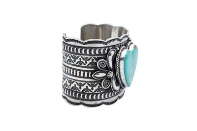 Load image into Gallery viewer, Andy Cadman, Heart Bracelet, Blue Kingman Turquoise, Navajo Handmade, 6.25