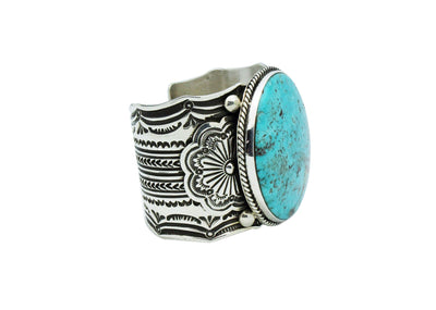 Load image into Gallery viewer, Carson Blackgoat, Bracelet, Pilot Mountain Turquoise, Navajo Handmade, 6 7/8""