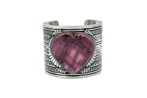 Delayne Reeves, Heart Bracelet, Purple Spiny Oyster Shell, Navajo Made, 6.75