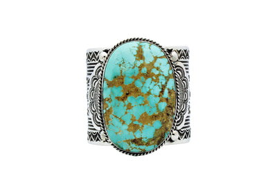 Load image into Gallery viewer, Carson Blackgoat, Bracelet, Turquoise Mountain, Silver, Navajo Handmade, 6 3/4""