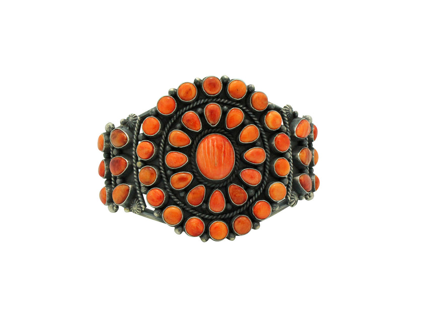Tyler Brown, Cluster Bracelet, Orange Spiny Shell, Silver, Navajo Handmade, 6.5