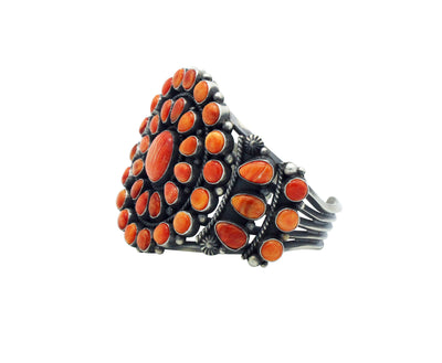 Load image into Gallery viewer, Tyler Brown, Cluster Bracelet, Orange Spiny Shell, Silver, Navajo Handmade, 6.5