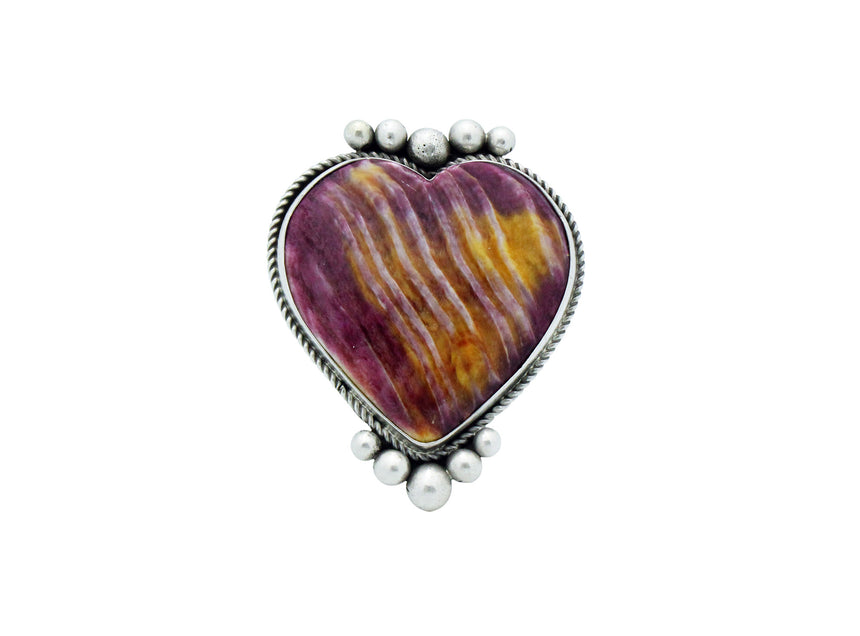 Lyle Cadman, Heart Ring, Purple Spiny Oyster Shell, Navajo Handmade, 8