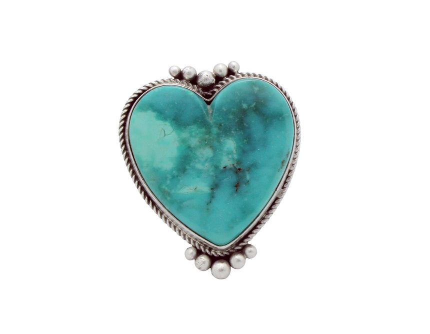 Lyle Cadman, Heart Ring, Blue Kingman Turquoise, Silver, Navajo Handmade, 6