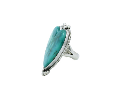 Load image into Gallery viewer, Lyle Cadman, Heart Ring, Blue Kingman Turquoise, Silver, Navajo Handmade, 6