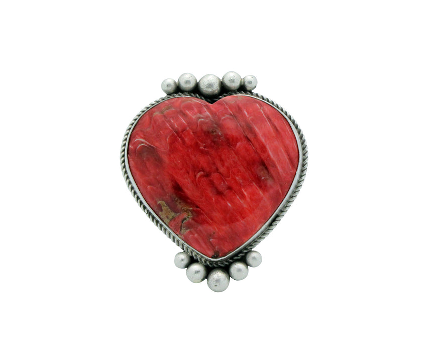 Lyle Cadman, Heart Ring, Red Spiny Oyster Shell, Navajo Handmade, Silver, 8.5