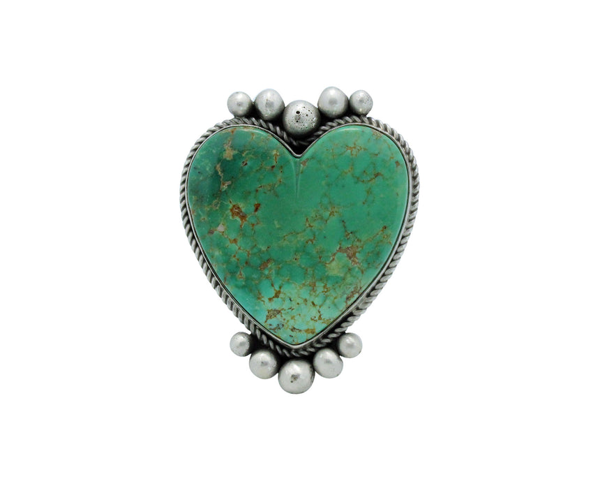 Lyle Cadman, Heart Ring, Green Kingman Turquoise, Silver, Navajo Handmade, 6.5