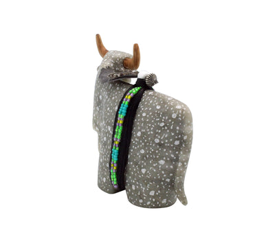Load image into Gallery viewer, Harold Davidson, Bull Fetish, Gray, Spots, Alabaster, Navajo, Handmade, 3
