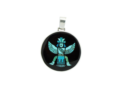 Load image into Gallery viewer, Harlan Coonsis, Pendant, Turquoise Knifewing, Jet, Silver, Zuni Handmade, 2