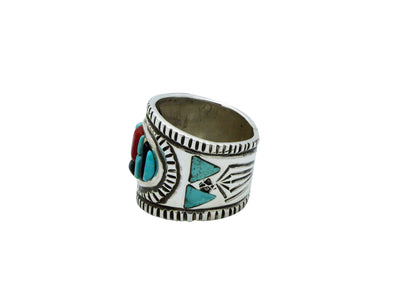 Load image into Gallery viewer, Bryan Tom, Ring, Mosaic Inlay, Turquoise, Coral, Jet, 14k, Silver, Navajo, 11.5