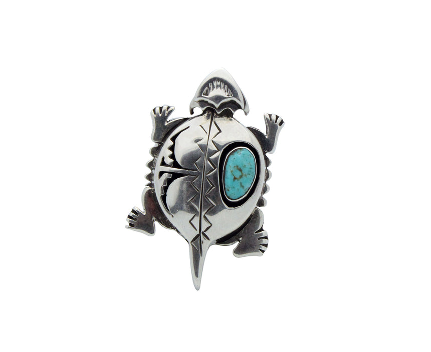 Nelson Morgan, Adjustable Ring, Horned Toad, Turquoise, Navajo Handmade, 8